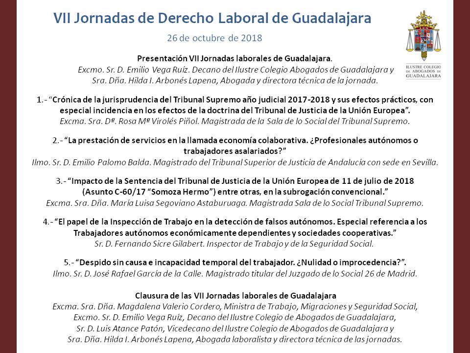 Ponencias VII Jornadas Derecho Laboral en el Colegio de Abogados de Guadalajara